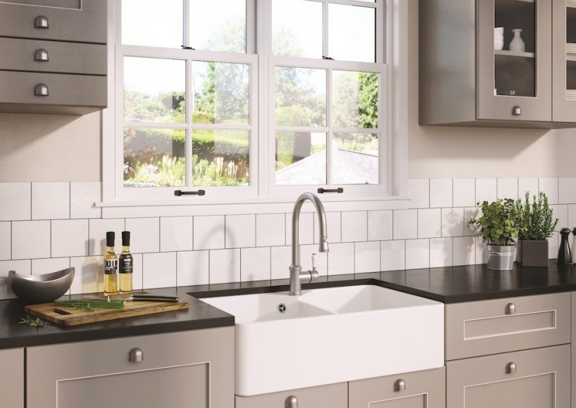 Farmhouse style ceramic sink and complementary tap portfolio