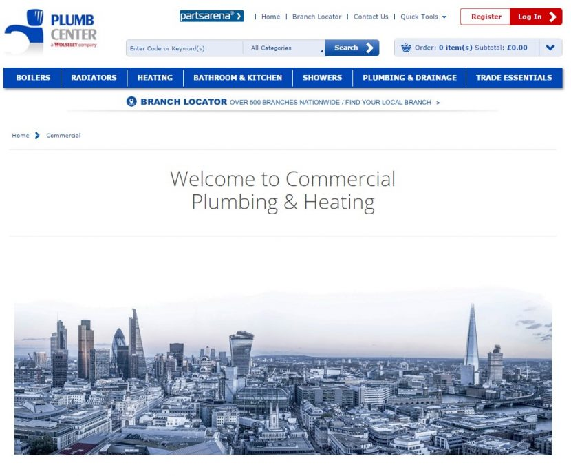 Plumb Center website is commercially minded