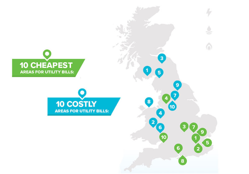 Highest and lowest energy bills in the UK