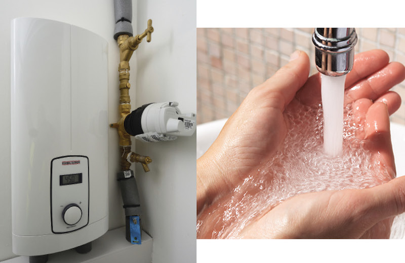 Space saving solution for instantaneous hot water