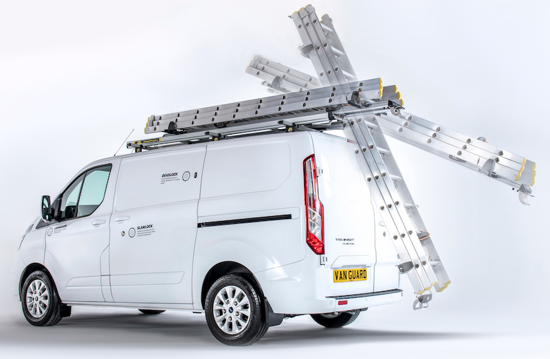 Safe way to carry ladders on the van