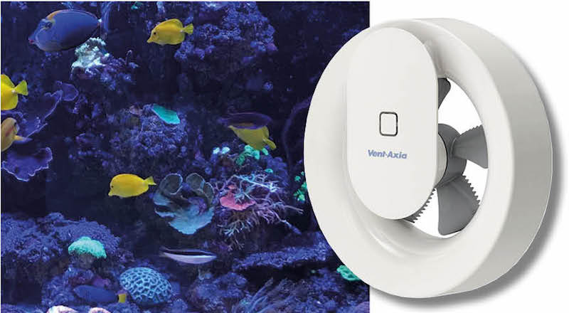 Fans help control humidity in aquarium room